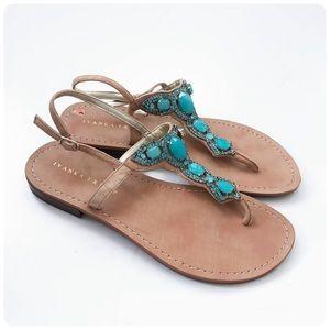 Ivanka Trump leather embellished thong sandals 9.5